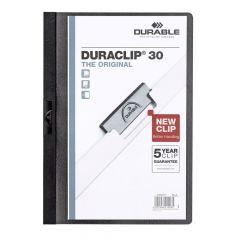 Dosar din plastic cu clema culisanta, negru, 30 coli, Duraclip Durable