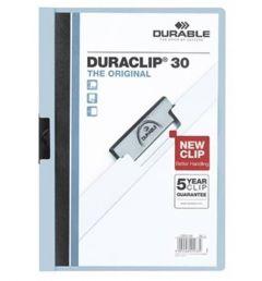 Dosar din plastic cu clema culisanta, albastru, 30 coli, Duraclip Durable