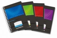 Caiet cu spira A6, 50file, matematica, coperta carton lucios, Aurora Mano