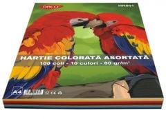 Hartie colorata asortata 10 culori, 80g/mp, 100coli/top, HR801 Daco