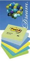 Notes autoadeziv 76mm x 76mm, 100 file/buc, 6buc/set, culori asortate neon (verde, albastru, galben)