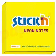 Notes autoadeziv 76mm x 76mm, 100 file/buc, galben neon, Stick'n