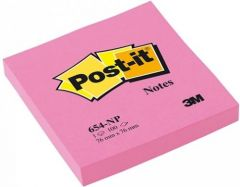 Notes autoadeziv 76mm x 76mm, 100 file/buc, roz neon, Post-it 3M