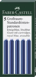 Patroane lungi, cerneala albastra, 5buc/set, 185524 Faber Castell