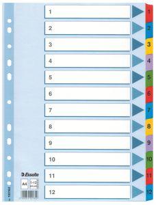 Separatoare carton cu taste laminate Mylar 1-12/A4 Esselte