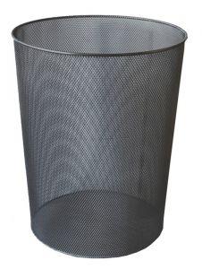 Cos metal pentru gunoi, negru, Mesh
