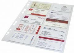 File de protectie A4, cristal, pentru carti de vizita, 120 mic, 10/pagina, 10buc/set, Optima