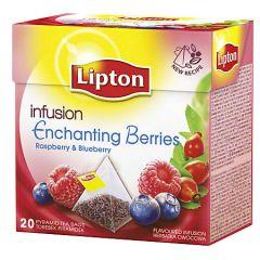 Ceai infuzie din macese si zmeura, 20plicuri/cutie, Lipton Enchating Berries Pyramid