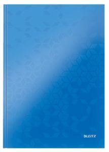 Caiet A4, 80file, dictando, coperta carton, albastra, Wow Leitz