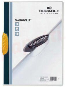 Dosar din plastic cu clema pivotanta galbena, 30 coli, Swingclip Durable