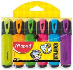 Textmarker 6 culori/set (galben, portocaliu, roz, verde, albastru, mov), Fluo Peps Maped