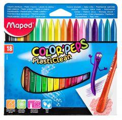 Creioane colorate cerate din plastic, 18culori/set, Color Peps Plasticlean Maped