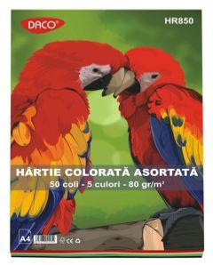 Hartie colorata asortata 5 culori, 80g/mp, 50coli/top, Daco