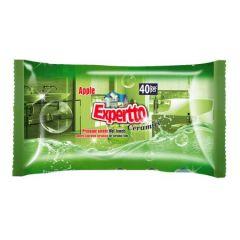 Servetele umede pt. curatare suprafete ceramice, aroma mar, 40buc/pachet Expertto