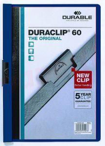 Dosar din plastic cu clema culisanta, albastru inchis, 30 coli, Duraclip Durable