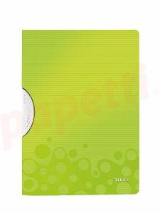 Dosar din plastic, cu clema culisanta, verde metalizat, ColorClip Wow Leitz