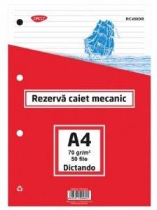 Rezerve ptr.caiet mecanic A4, 50 file/set, dictando, Daco