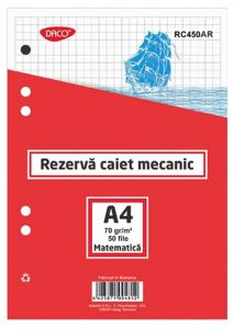 Rezerve ptr.caiet mecanic A4, 50 file/set, matematica, Daco