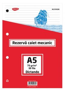 Rezerve ptr.caiet mecanic A5, 50 file/set, dictando, Daco