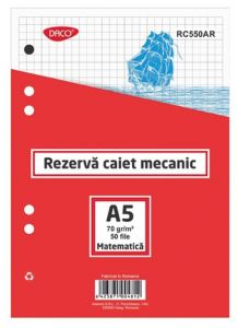 Rezerve ptr.caiet mecanic A5, 50 file/set, matematica, Daco