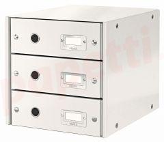 Suport carton laminat cu 3 sertare pentru documente, alb, Click&Store Leitz