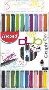 Liner 2 varfuri, bicolor, 20culori, 10bucati/set Graph'Peps Duo Maped