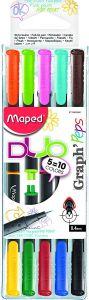Liner 2 varfuri, bicolor, 10culori, 5bucati/set Graph'Peps Duo Maped