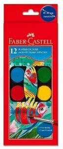 Acuarele pe baza de apa, 12 culori, pastila 24mm, pensula, 125011 Faber Castell