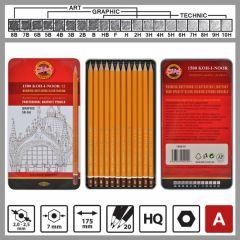 Creione grafit gama 1500, 5B, 4B, 3B, 2B, B, HB, F, H, 2H, 3H, 4H, 5H, 12buc/cutie, Koh-I-Noor