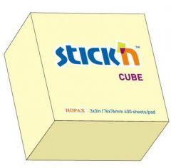 Notes autoadeziv cub 76mm x 76mm, 400 file/set, galben pastel, Stick'n
