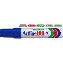 Permanent marker albastru, varf tesit 7,5-12 mm, Artline 100