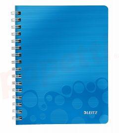 Caiet cu spira A5, 80file, dictando, coperta PP albastru metalizat, Wow PP Leitz