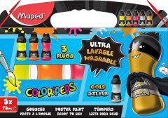 Tempera ultralavabile, 5culori/set, (3cul. fluorescente + 2cul. metalice), Color Peps Maped