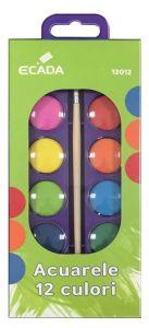 Acuarele pe baza de apa, 12 culori, pastila 23mm, pensula, Ecada