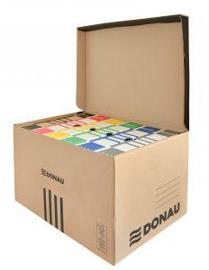 Container arhivare cutii de arhivare, cu capac, 558x315x370mm, negru/kraft, Donau