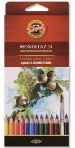 Creioane colorate acuarela, 24culori/set, fructe, Mondeluz Aquarell, Koh-I-Noor