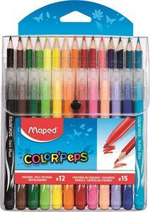 Set creioane colorate 15culori/set + carioci 12culori/set, Color Peps Maped