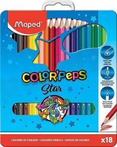 Creioane colorate in cutie metal 18culori/set, Color Peps Star Maped