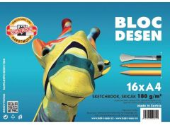 Bloc desen A4, 16file, 180g/mp Girafa Koh-I-Noor