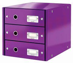 Suport carton laminat cu 3 sertare pentru documente, mov, Click&Store Leitz