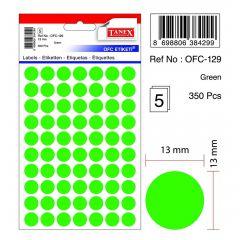 Etichete autoadezive rotunde, diam.13mm, 350buc/set, 5coli/set, verde, Tanex