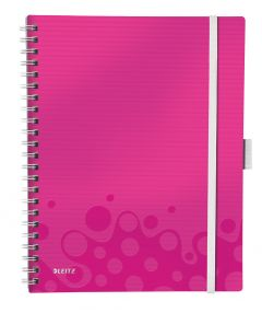 Caiet cu spira A4, 80file, matematica, coperta PP roz metalizat, Wow Be Mobile PP Leitz