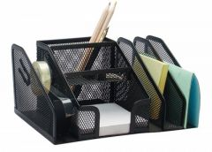 Suport metal pentru birou, 6 compartimente si suport banda adeziva, negru, Mesh Q-Connect