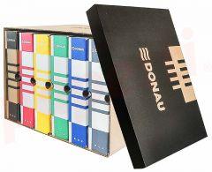 Container arhivare cutii de arhivare, cu capac, 545x317x363mm, negru/kraft, Donau