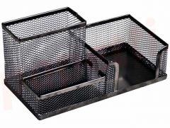 Suport metal pentru birou, 3 compartimente, negru, Mesh Ecada