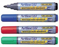 Whiteboard marker 4 buc/set (albastru, negru, rosu, verde), varf 2,0 mm, Artline 517