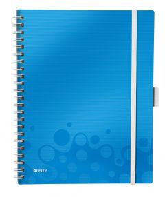 Caiet cu spira A4, 80file, matematica, coperta PP albastru metalizat, Wow Be Mobile PP Leitz