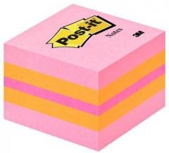Notes autoadeziv cub 51mm x 51mm, 400 file/set, galben/roz, Post-it 3M