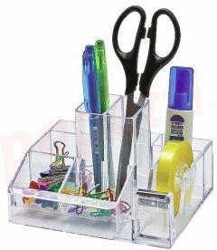 Suport accesorii birou, 8 compartimente, 148x87mm, transparent, Kejea