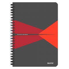 Caiet cu spira A5, 90file, matematica, coperta carton gri/rosu, Office Leitz